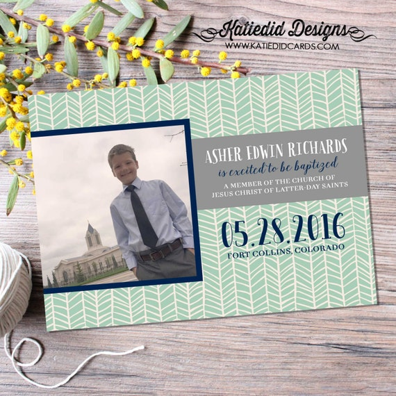 mormon baptism invitation great to be 8 eight LDS tribal arrows invite sonogram pregnancy announcement mint navy gray 713 Katiedid Designs