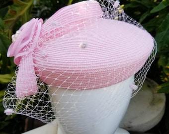 Pink pill box hat