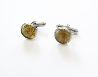 Small Amber Cufflinks, recycled glass cufflinks, upcycled beer bottle, Glass, Holiday, Gift, Father's Day, New Orleans, Stainless Steel