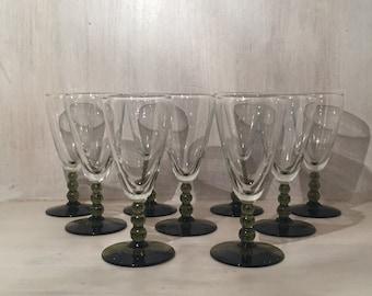 Vintage Cordial Green Stemmed Glasses (set of 9)