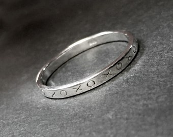 925 Solid Sterling XO Ring-Thin Band XO Silver Ring-Polished