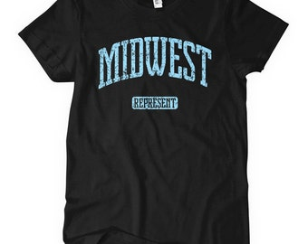 Women's Midwest Represent T-shirt - S M L XL 2x - Ladies' Midwest Tee - 4 Colors