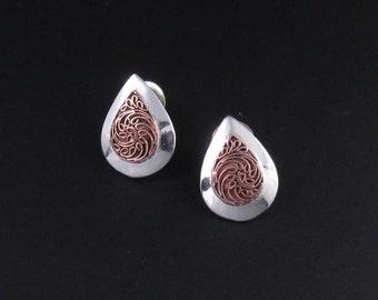 Sterling Silver Teardrop Earrings, Silver and Copper Earrings, Mixed Metal Earrings, Scrolled Earrings