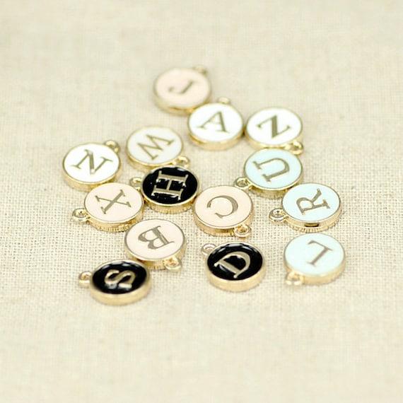 Letter Charm Bracelets: 26 Letter Initial Alphabet Enamel Gold Charms For Jewelry Diy