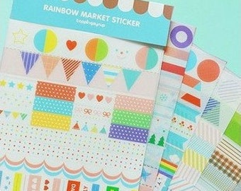 Drawing Market Stickers - Deco Stickers - Diary Stickers - 6 sheets in