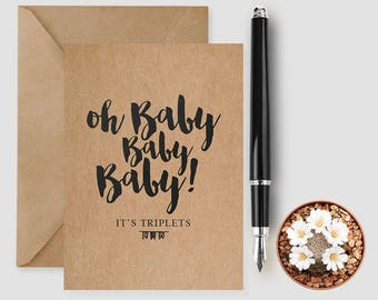 New Baby Triplets Card, New Arrival Card, Welcome Triplets, Congratulations New Baby Triplets, Card For New Baby, Triplets