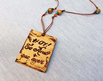 Wooden necklace Personalized necklace Pyrography Original jewerelry necklace Couples necklace handmade Charm necklace Valentines gift