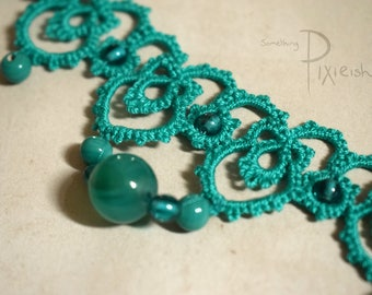 Turquoise Aqua Teal Amazonite Green 'Alexandria'Tatted Lace Necklace, Handmade Jewellery Beaded with Reclaimed Beads