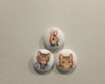 Set of 3 Beatrix Potter buttons (LAST ONES LEFT).
