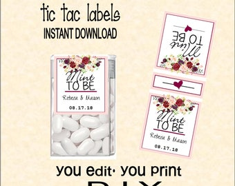 Tic tac label etsy tic tac labels mint to be wedding do it yourself instant download solutioingenieria Gallery