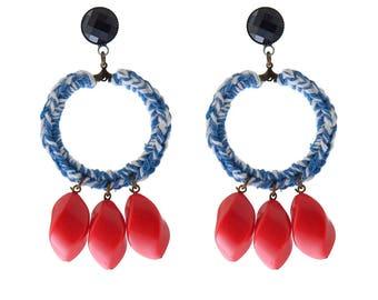 Blau-Statement Ohrringe, Textil und Perle Creolen Ohrringe, trendigen Schmuck für sie, kostenloser Versand