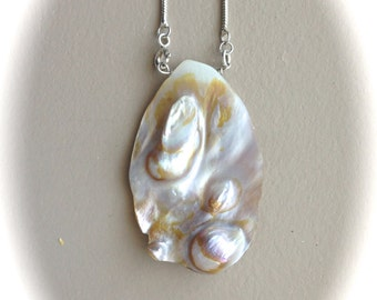 """Sterling Silver Mother Pearl Necklace 18"""""""