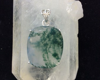 Moss Agate Sterling Silver Pendant