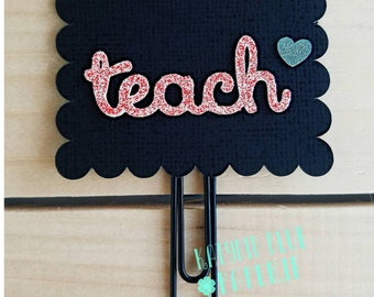 Scalloped Chalkboard Planner Clip | Teacher Planner Clip | Paper Clip | Bookmark | Teacher Gift | First Day of School