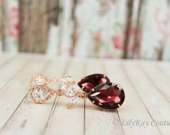 Burgundy Earrings Rose Gold Earring Rose Gold Burgundy Bridal