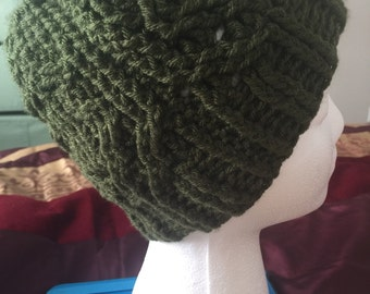 Cables Messy bun hat