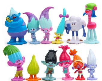 12pcs/lot Trolls Action Figure Poppy Branch toy set Movie Trolls figurine bobby Branch doll Model kid Fairy garden