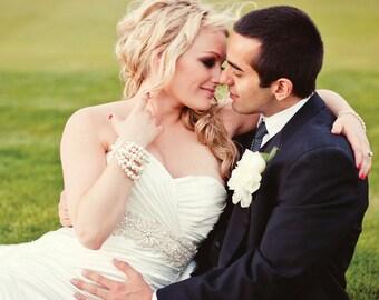 Bracelet de mariée, grosse perle, 6 brins, perles Swarovski, Bracelet mariage, Couture Pearl Bracelet manchette épaisse, Six Strand