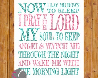 Now I Lay Me Down to Sleep Wall Art Lords Prayer Pink Teal Girls Nursery 8x10 Digital JPG Files Printable Instant Download (236)