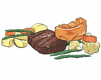 Roast Dinner A4 Art Print