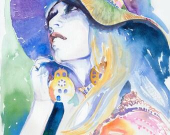 Brigitte Bardot Fashion Illustration, Watercolour Fashion Print, Watercolour Illustration, Girl in Summer Hat, Cate Parr, Fashion Poster