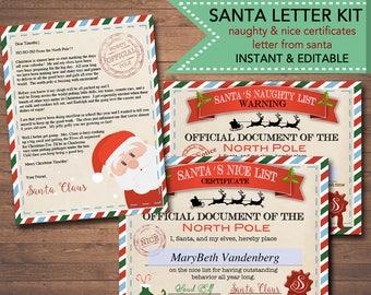 EDITABLE Nice/Naughty Certificates, Santa Letter Christmas Reward Certificate Santa's Nice List, Letter From Santa Template INSTANT DOWNLOAD