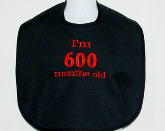 Custom Funny Adult Bib, 50th Birthday Gift, Canvas, Clothing Protector, Personalize With Age, No Shipping Fee, Ready To Ship TODAY AGFT 991