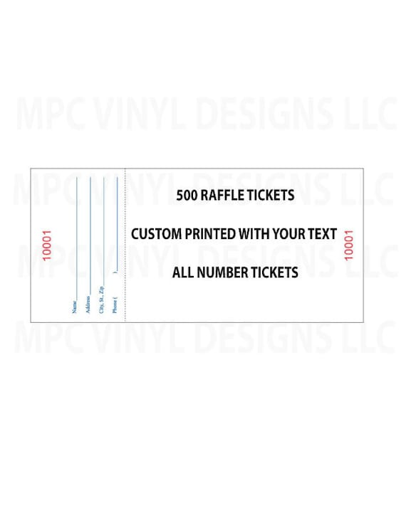 250 custom printed numbered raffle tickets events fundraiser