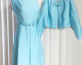 Vintage 60s Jackie O dress & coat set/ turquoise raw silk/ aqua blue shift dress/ boxy cropped jacket