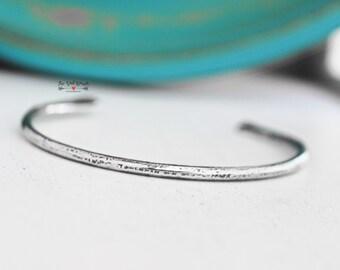 Sterling Silver Minimalist Cuff Bracelet | Hammered Silver | .925 Sterling Jewelry | Silver Jewelry | Silver Bangles | Silver Cuff
