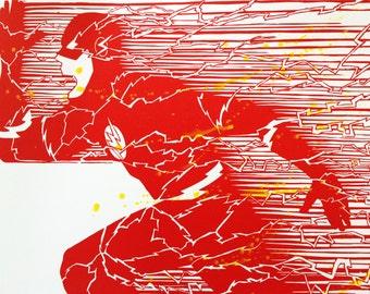 "The Flash - 9""x12"" - Handmade - Linocut Block Print - Red"