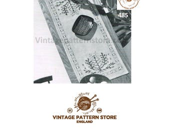 1970s sea blooms floral embroidered table runner - Vintage PDF Pattern 485