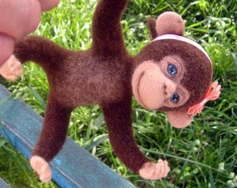 Needle felted animals Monkey doll Needle felted Monkey woll miniature Monkey Needle felt doll Soft sculpture Monkey Felt animals sculpture