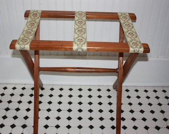 Vintage Luggage Stand, Wood Folding Luggage Rack, Floral Fabric Straps, Wood Folding Blanket or Quilt  Stand, Suitcase or Blanket Stand