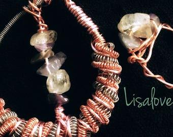 Amethyst| Citrine| pendant| copper|