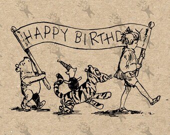 Vintage Winnie the Pooh Tigger Robin Happy Birtday drawing Instant Download Digital printable clipart graphic burlap paper transfer HQ300dpi