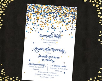 College Graduation Invitations Announcements Bachelor's Degree Confetti Announcements Graduation Announcements Qty. 25