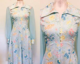 vintage 1960s / 1970s light blue floral dress / sheer sleeves / pastel