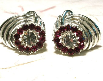 Vintage Silvertone Swirl Clip On Earrings with Fushia and Clear Rhinestones