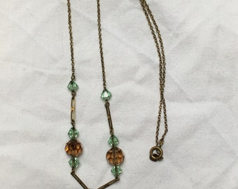 Crystal bead necklace vintage 1950s brown and pale blue glass crystal just over 17 inches 43.5 cm could be for pendant