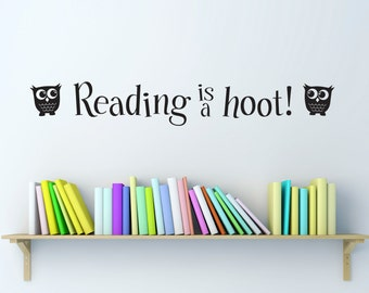 Reading is a hoot Wall Decal - Reading Decal - Children Wall Decals - Medium