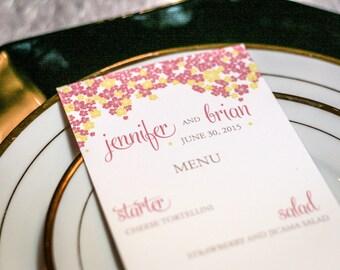 "Tropical Wedding Menus, Floral Hawaiian Wedding, Tropical Dinner Menus - ""Cascading Hibiscus"" Flat Menu, Pink Menu, No Layers-DEPOSIT"