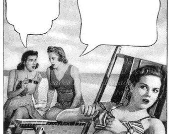 Retro Cartoon Comic  Women at the Beach Talk Balloon - Vintage Art Illustration - Digital Image