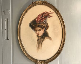 Antique Victorian framed portrait of elegant society lady with veil by H Voiser