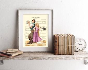 Tangled Rapunzel and Flynn Sheet Music Art Print