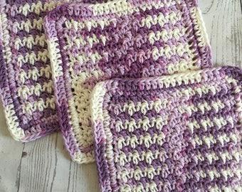 Purple Wash Cloths Kitchen Cotton Dish Cloths Baby Cloths Crochet Wash Cloth Set of 3 Made to Order