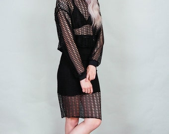 Moirai - Sweater knit knee length pencil skirt - boho rock