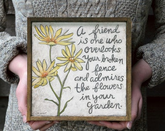 Best Friend Gift, Yellow and Gray, Yellow Flowers, Friendship Gift, Gift for Friend, Gifts for Friends, Farmhouse Style, Friendship Quote