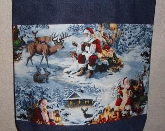 New Handmade Large Santa Wildlife & Reindeer in Snow Christmas Denim Tote Bag