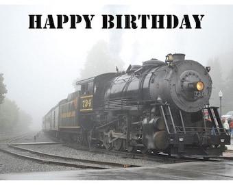 Train birthday card etsy steam engine train photo birthday card bookmarktalkfo Image collections